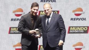 Messi y Tebas.