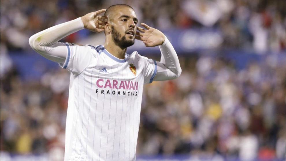 Verdasca celebra un gol en La Romareda.