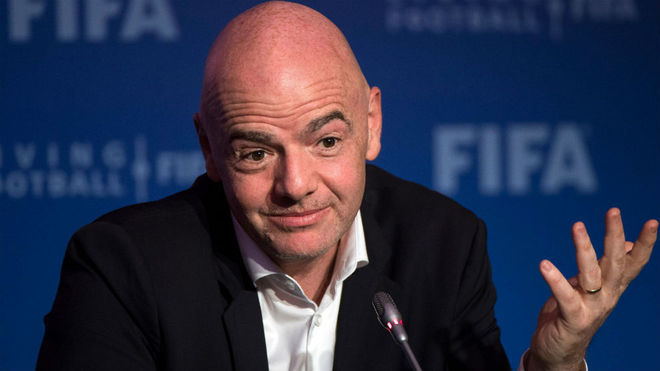 Gianni Infantino in a press conference.