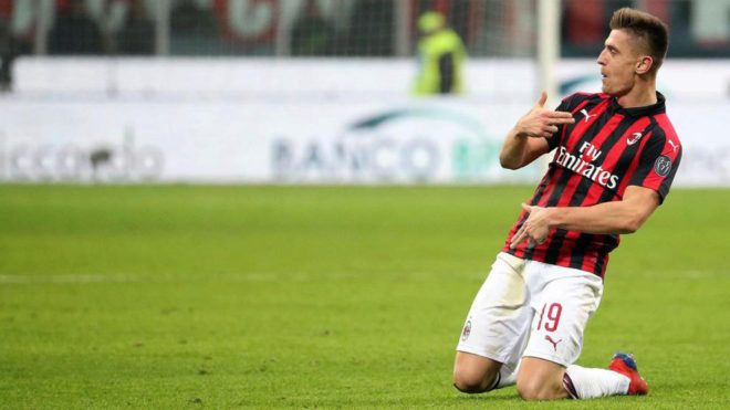 Krzyztof Piatek celebrating one of his AC Milan goals earlier this season