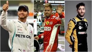 Hamilton, Vettel y Ricciardo.