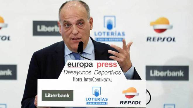 Tebas, durante su comparecencia en la conferencia de Europa Press.