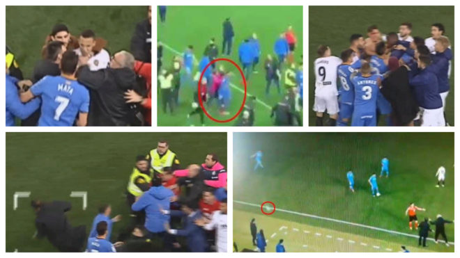 Imágenes de la pelea entre jugadores del Valencia y el Getafe