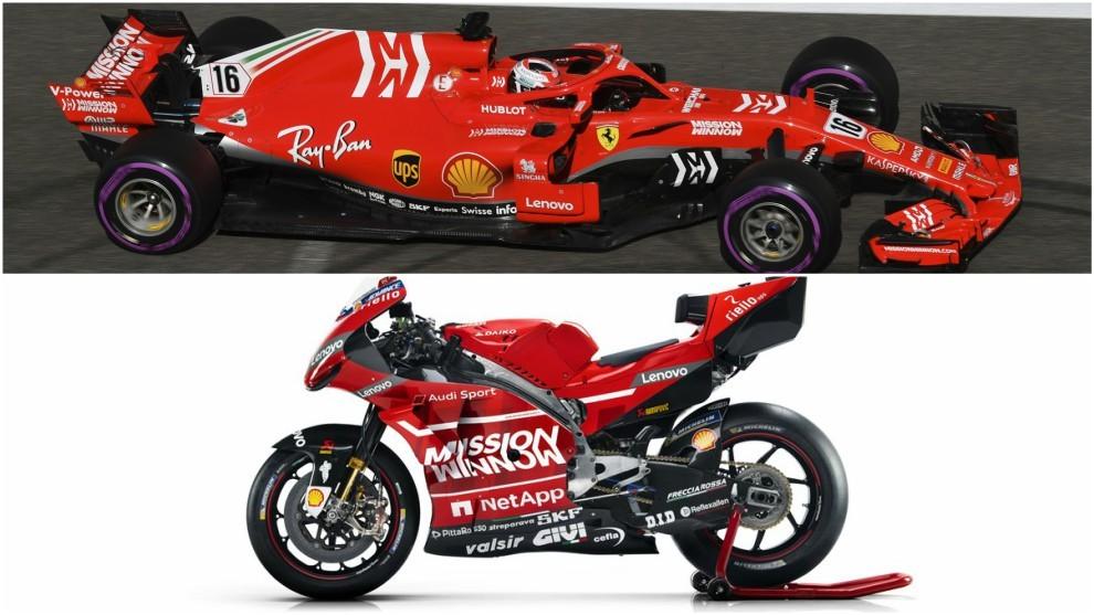El Ferrari SF71H y la Desmosedici GP19.