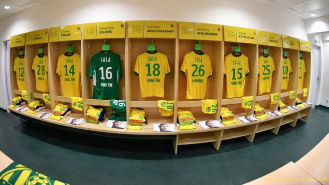 The Nantes dressing room before the fixture against Saint-Etienne.