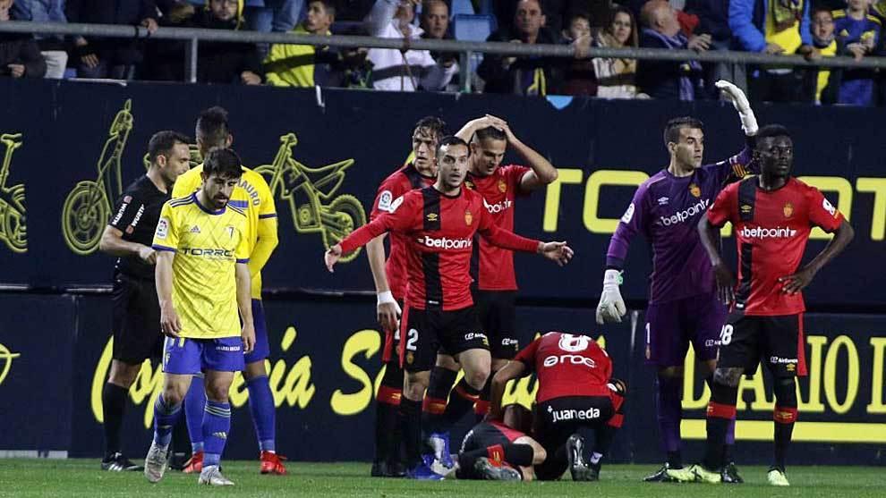 Jairo, tras ser expulsado en el partido del Cádiz ante el Mallorca