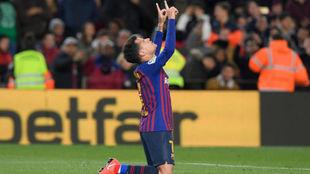 Coutinho, tras un gol contra el Sevilla