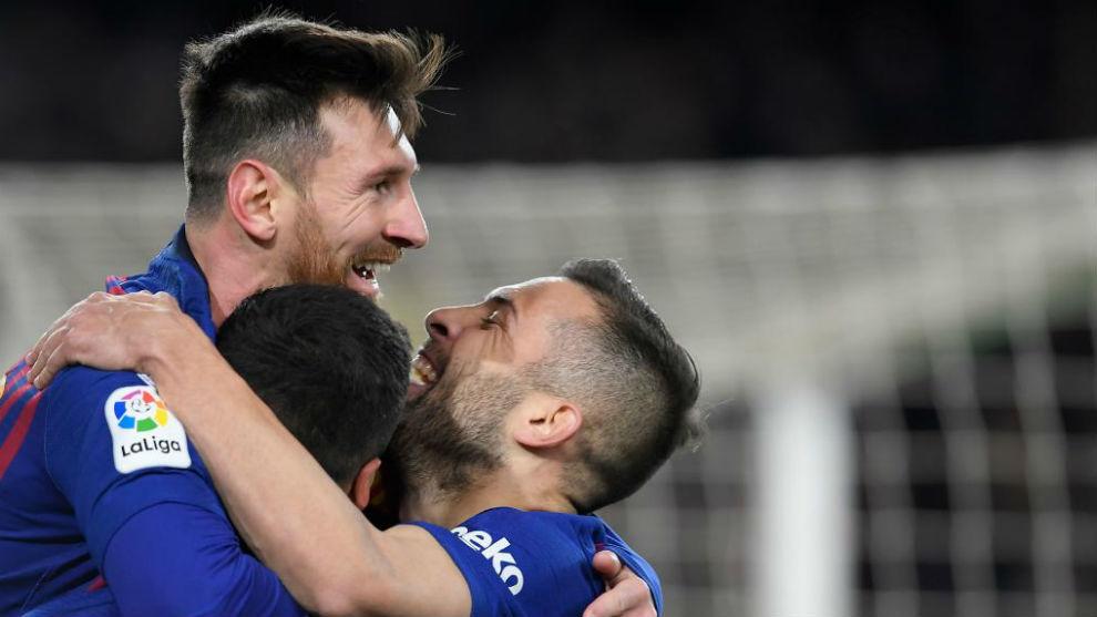 Messi celebrating one of the goals against Sevilla.