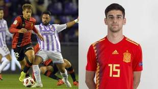 Pablo Ramón, con la camiseta del Mallorca, y Xavi, con la de la...