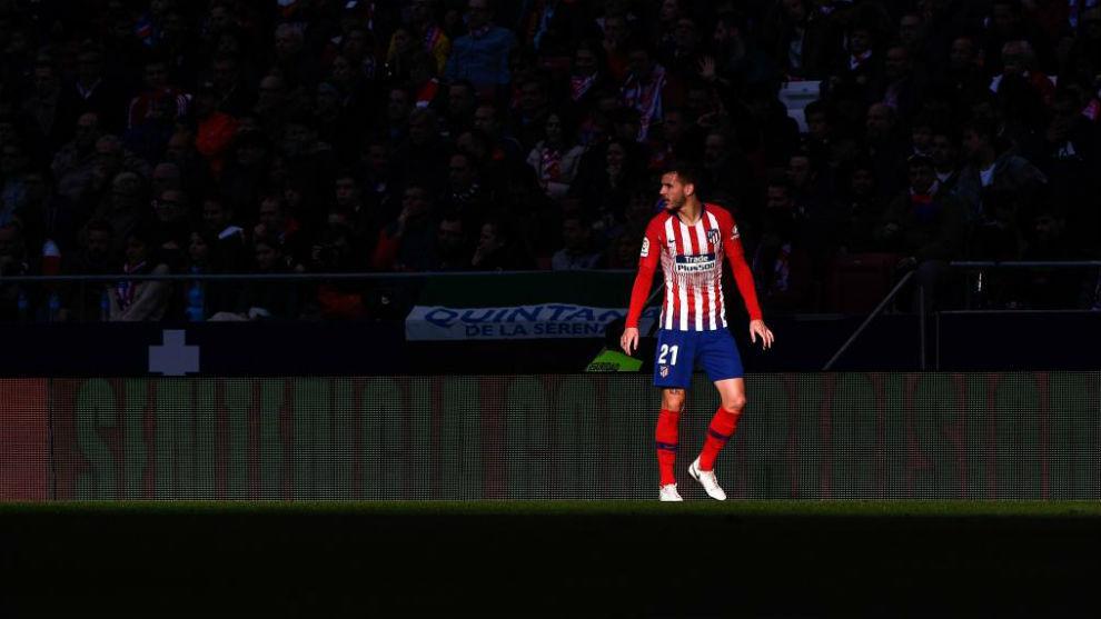 Lucas, durante un partido con el Atlético.