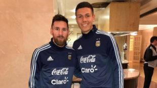 Leo Messi Nehuén Pérez, durante la concentración de Argentina en el...