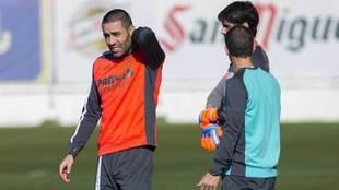 Bruno, en una sesión de trabajo con el Villarreal.