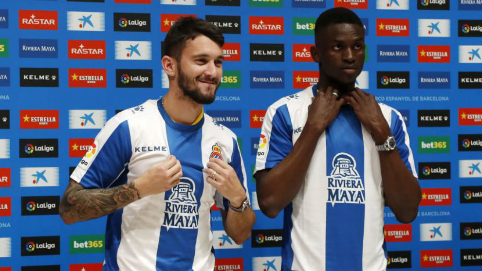 Ferreyra y Semedo, durante su presentación hoy en el RCDE Stadium.