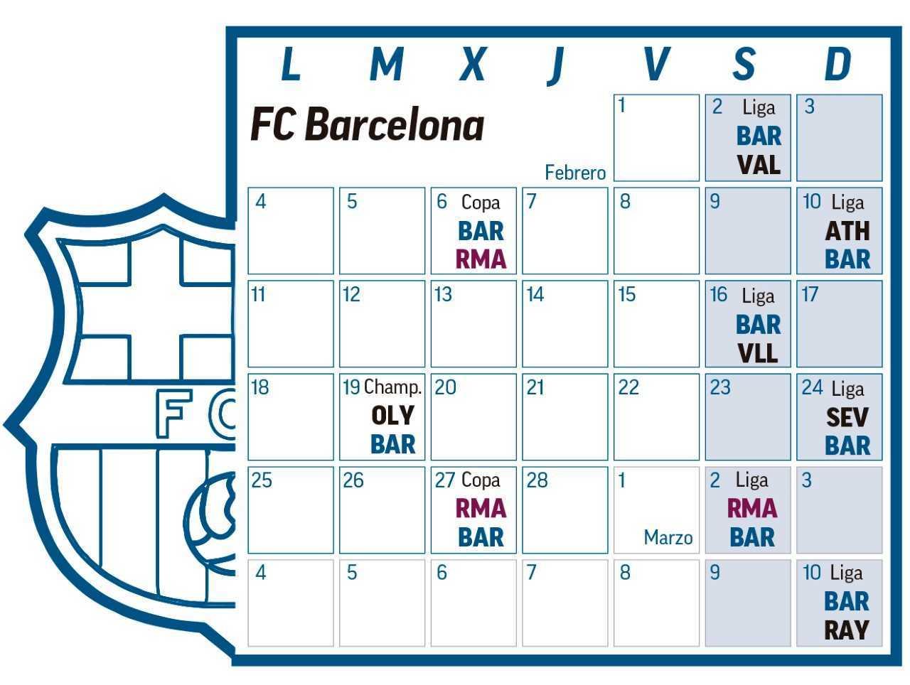 Calendario Del Barca.Copa Del Rey Un Calendario Muy Exigente Para Real Madrid Y Barca