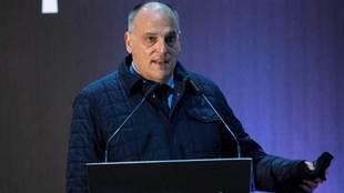 El presidente de LaLiga, Javier Tebas, durante una intervención.