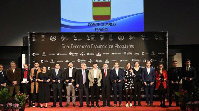 Los premiados en la gala de la RFEP celebrada en el COE.