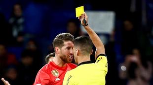 La amarilla que vio Ramos en el RCDE Stadium, la cuarta de LaLiga
