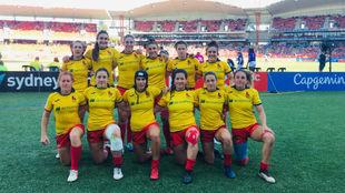 Las internacionales españolas posan durante un partido en la última...