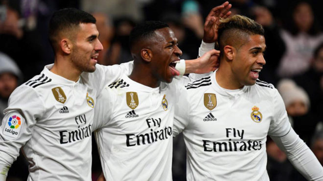 Vinicius Junior celebrates his goal with Daniel Ceballos and Mariano