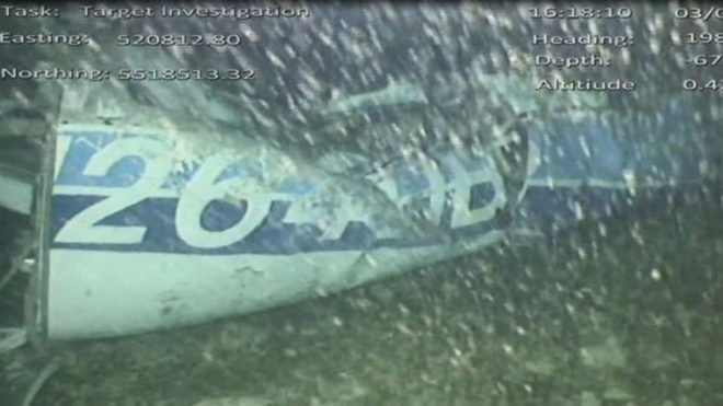 The plane carrying Sala was found