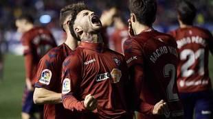 Rubén García celebra con rabia su decisivo gol al Granada de este...