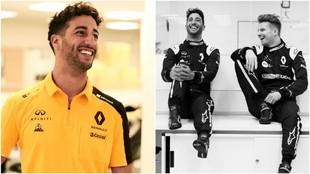 Ricciardo, de amarillo, y al lado junto a Hulkenberg.