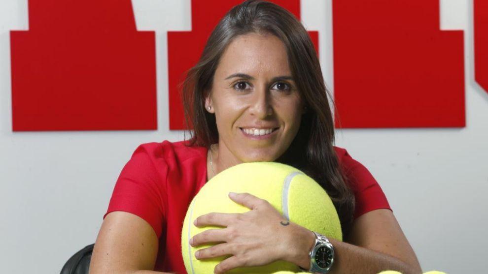 Anabel Medina durante una entrevista con MARCA