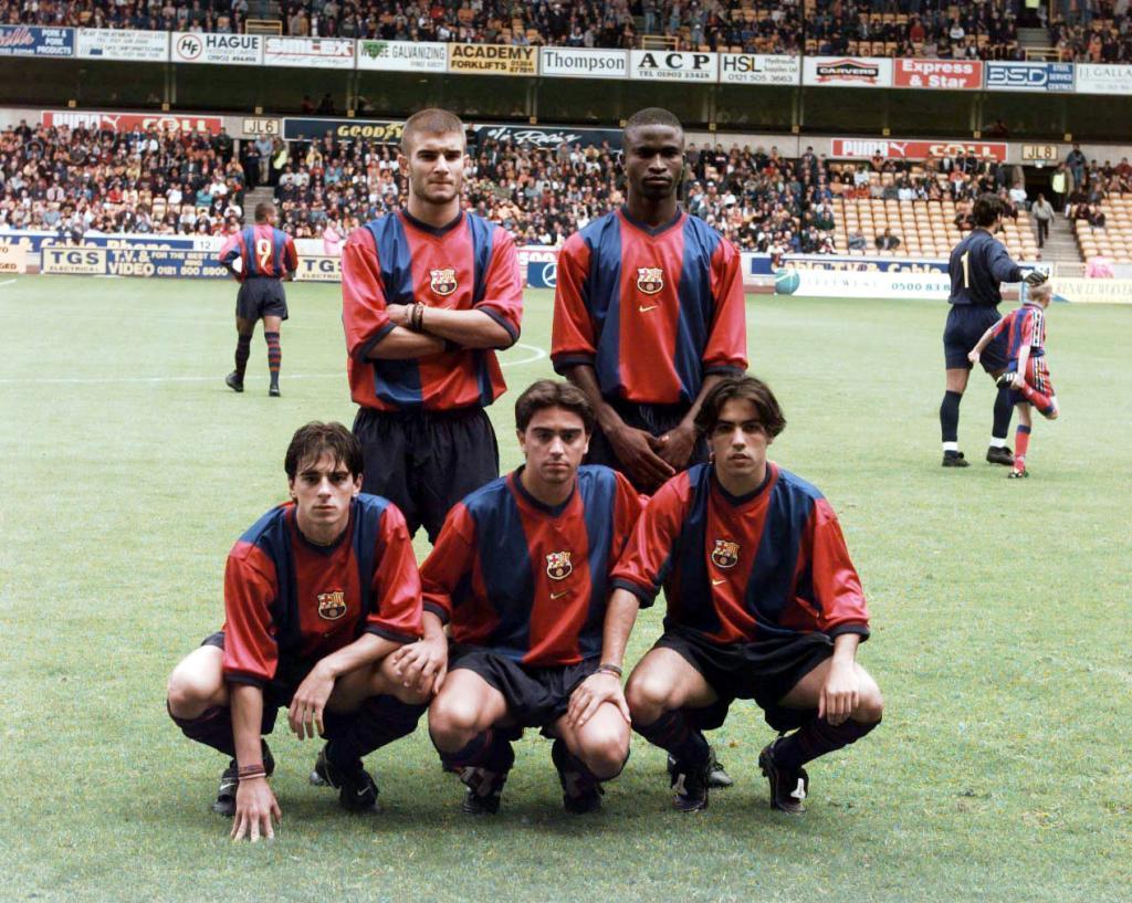 Ferrón, Okunowo, Jofre, Xavi y Mario, en la pretemporada 98-99 del...