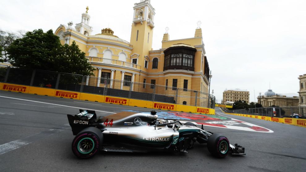 Lewis Hamilton, en el GP de Azerbaiyán de 2018.