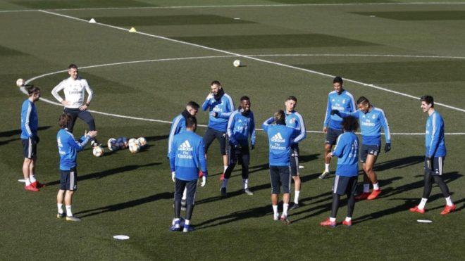 Real Madrid players training at Valdebebas.