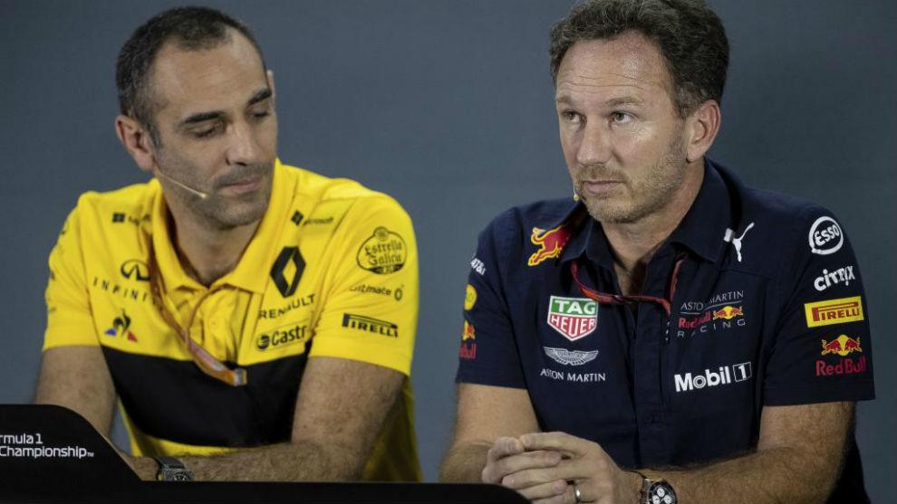 Horner y Abiteboul, director de Renault F1, en el GP de Abu Dabi 2019.