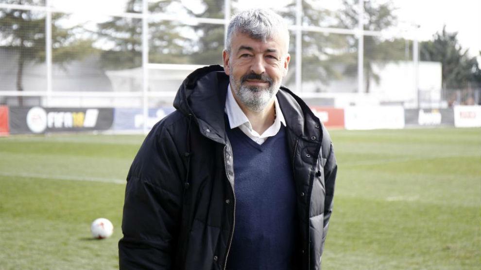 Óscar Fernández, en un partido del Atlético B.