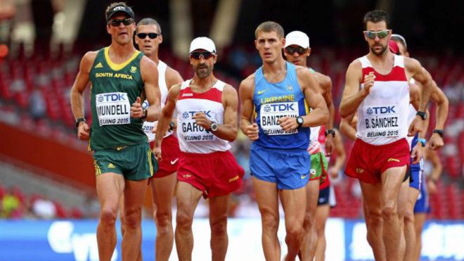Atletas en los 50 kilómetros marcha del Mundial de Pekín de 2015.