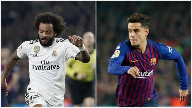 Marcelo y Coutinho, durante el partido de ayer.
