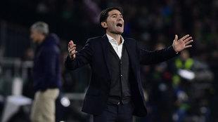 Marcelino durante el partido en el Benito Villamarín.