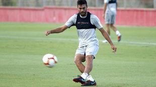 Salva Ruiz durante un entrenamiento con el Mallorca.