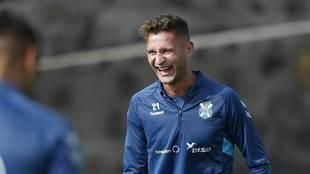 Un sonriente Jorge Sáenz, durante un entrenamiento de esta temporada