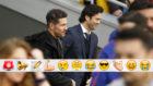 Solari y Simeone se saludan antes del partido