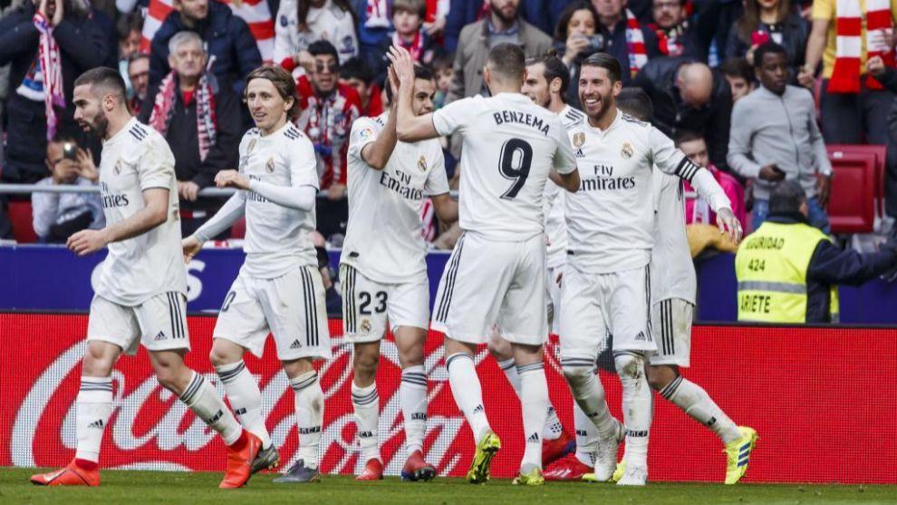 El Real Madrid celebra uno de sus goles