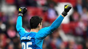 Courtois celebra la victoria del Madrid