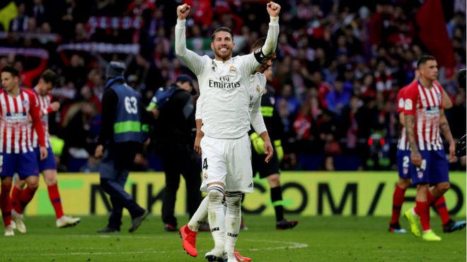 Seegio Ramos celebra el triunfo del Real Madrid.