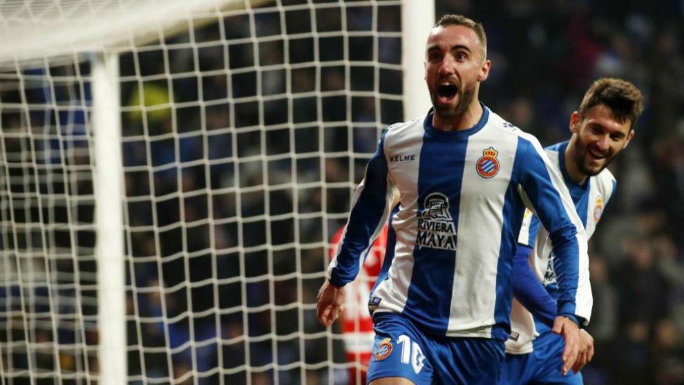 Sergi Darder celebra el gol del triunfo del Espanyol contra el Rayo