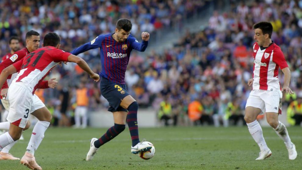 Encuentro entre el Barcelona y el Athletic en la primera vuelta....