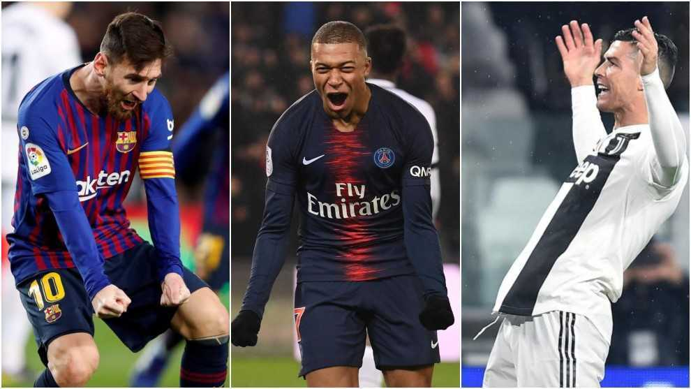 Messi, Mbappe and Cristiano Ronaldo.