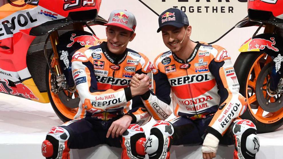 Lorenzo y Márquez, en la presentación de Repsol Honda.