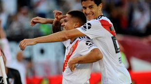 Juan Fernando Quintero celebra su gol ante Racing.