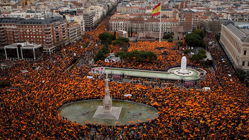 Plaza de Colón (Madrid) el domingo, 10 de febrero