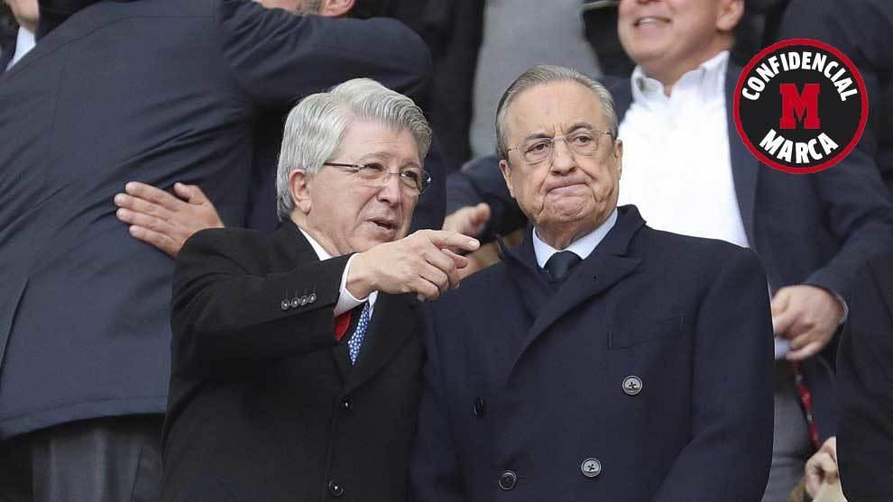 Enrique Cerezo y Florentino Pérez, en el palco del Wanda...