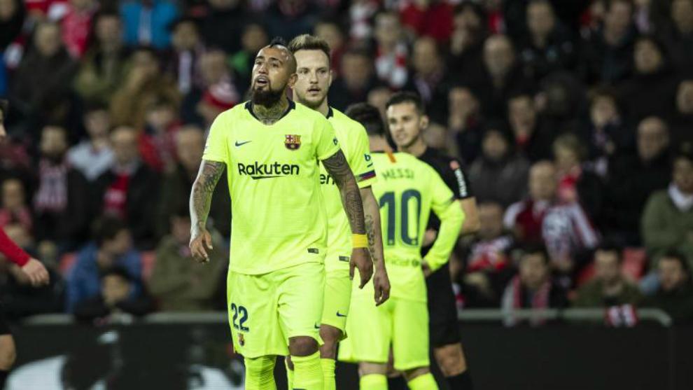Vidal, en el partido del domingo contra el Athletic Club en San...