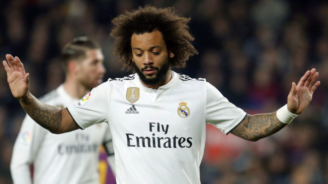 Marcelo during a match against Barcelona.
